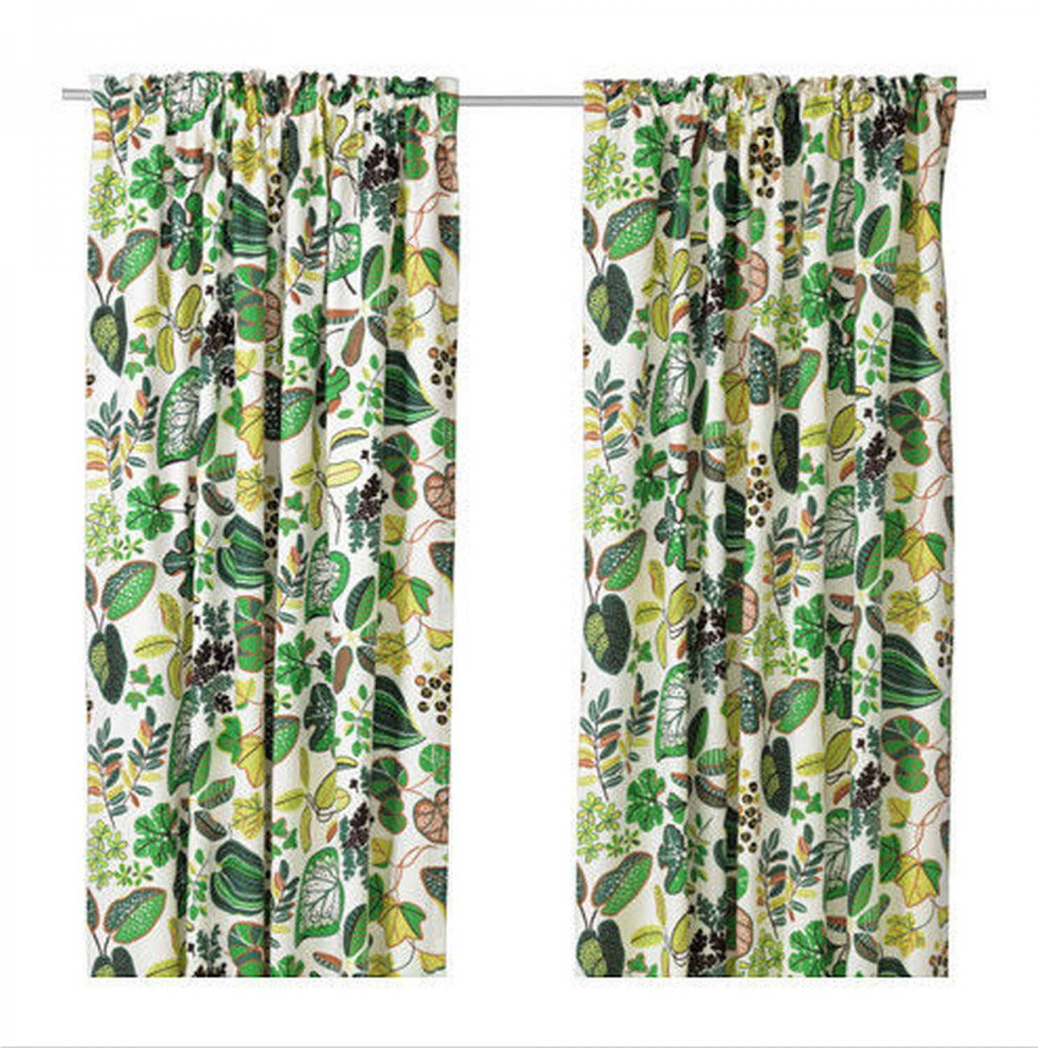 Ikea syssan curtains drapes green leaf modern retro linen for Green modern curtains