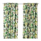 IKEA Syssan CURTAINS Drapes GREEN LEAF Modern Retro LINEN Blend Tropical Floral White