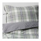 IKEA Snarjmara King DUVET COVER Set Green PLAID SNÄRJMÅRA Yarn Dyed Soft