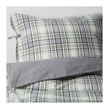 IKEA Snarjmara King DUVET COVER Set Green PLAID SN�RJM�RA Yarn Dyed Soft