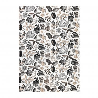 IKEA SYSSAN Fabric Material Scandinavian Mid-Century 1 Yd Linen Blend Leaf Floral Beige White