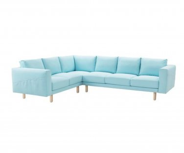 IKEA Norsborg  5 Seat Sectional Sofa SLIPCOVER 3+2/2+3 Corner Cover EDUM LIGHT BLUE