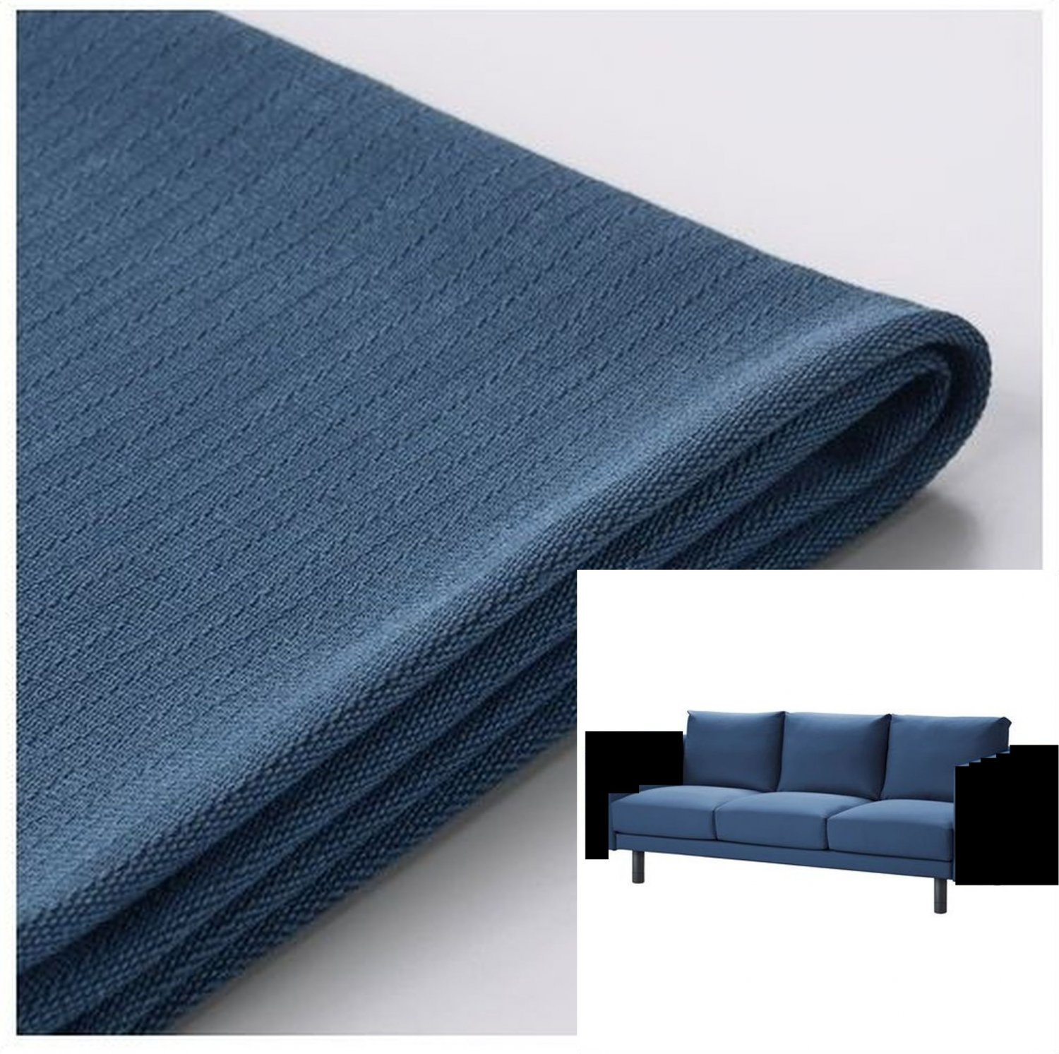 ikea norsborg 3 seat sofa section slipcover cover edum dark blue no arm covers. Black Bedroom Furniture Sets. Home Design Ideas