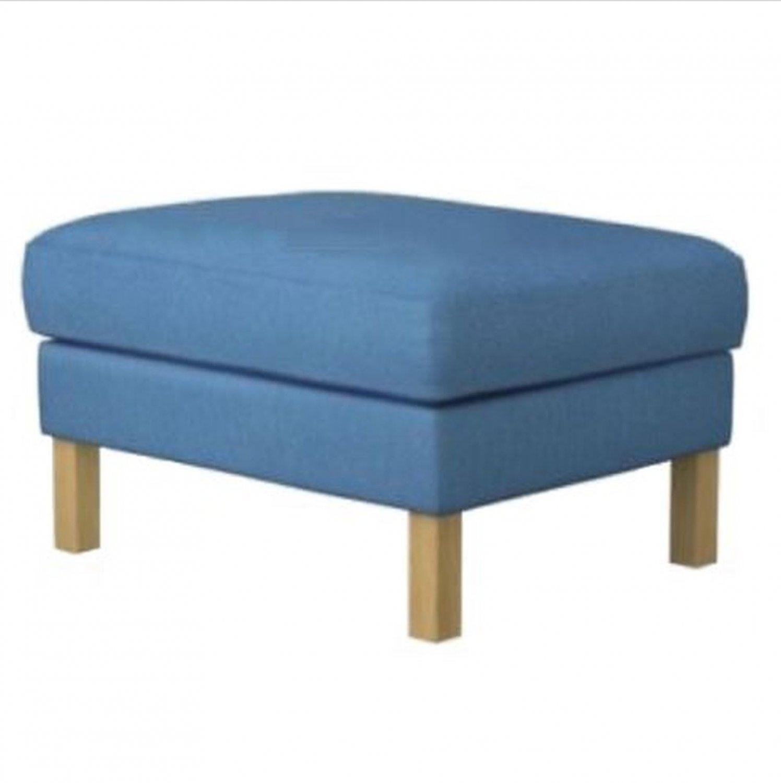 Ikea Karlstad Slipcover For Footstool Ottoman Korndal Blue