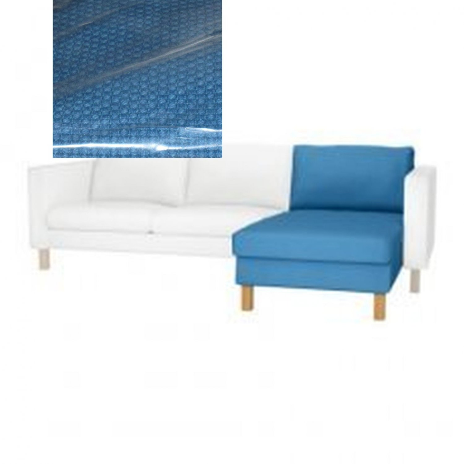 Ikea karlstad slipcover for add on chaise longue korndal blue cover - Ikea chaise stockholm ...