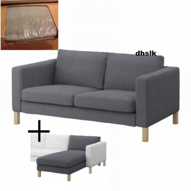 IKEA KARLSTAD 2 Seat Sofa and Chaise SLIPCOVERS Korndal Medium Gray on headboard cover, sleep cover, bookcase cover, dresser cover, armchair cover, glider cover, chandelier cover, mirror cover, carpet cover, wood cover, hammock cover, canopy cover, leather cover, rocker cover, storage cover, swing cover, bed cover,