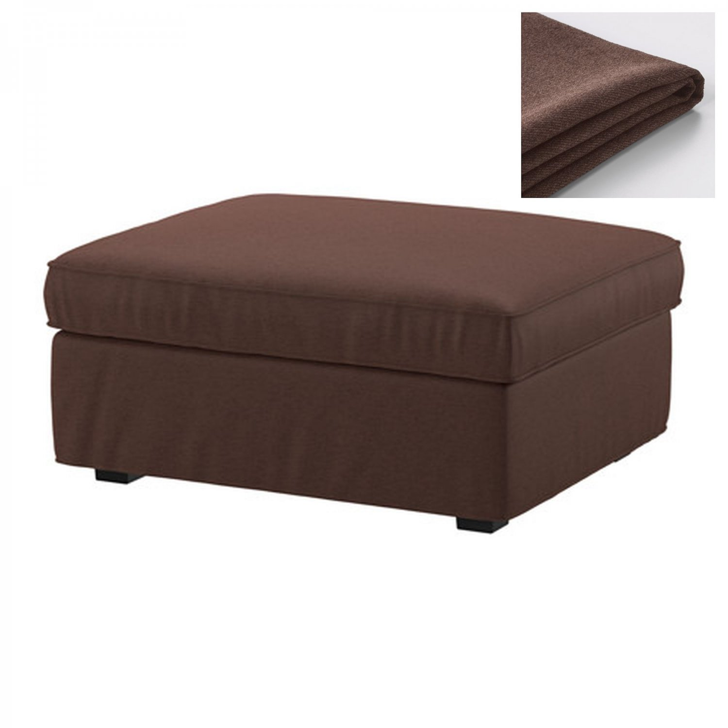 ikea kivik footstool slipcover ottoman cover borred dark brown bezug housse. Black Bedroom Furniture Sets. Home Design Ideas