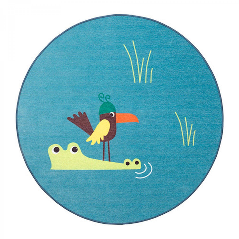 Ikea Blue Round Rug: IKEA DJUNGELSKOG Alligator Crocodile Area RUG Throw Play