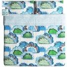 IKEA Doftranka King DUVET COVER and Pillowcases Set Multicolor Blue Green Gray Cloud Zen Sky