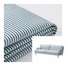 IKEA Stocksund 3 Seat Sofa SLIPCOVER Cover REMVALLEN Blue White Stripes