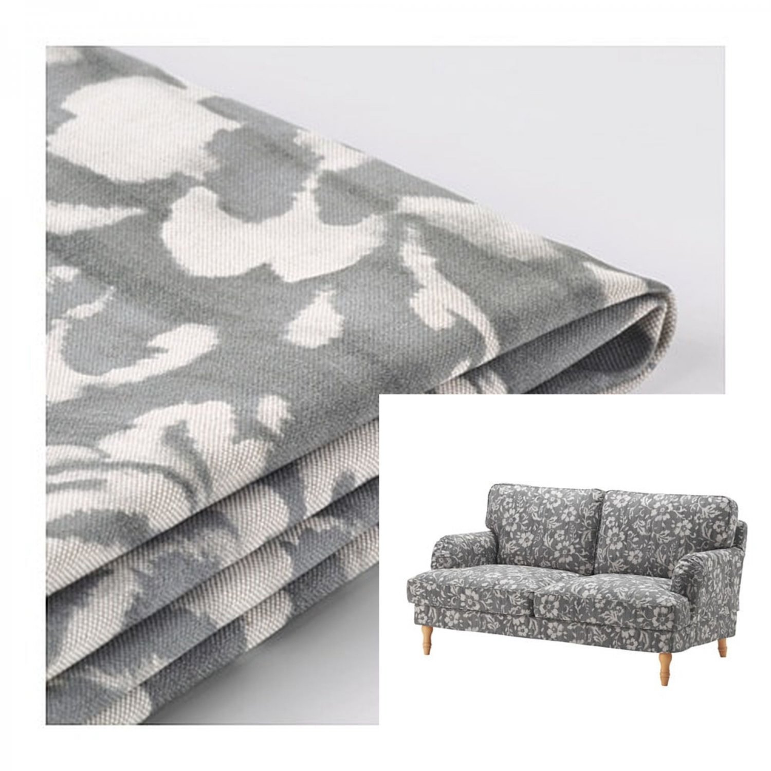 IKEA Stocksund 2 Seat Sofa SLIPCOVER Loveseat Cover HOVSTEN Gray Floral Watercolour Effect Grey