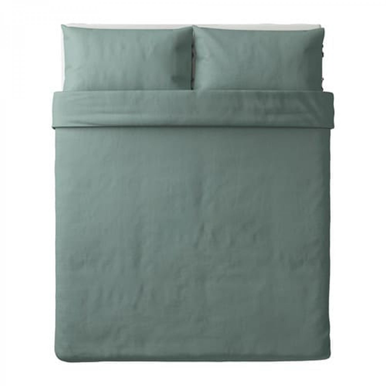 IKEA Puderviva QUEEN Full Duvet COVER and Pillowcases Set LINEN Green teal