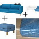 IKEA KARLSTAD 3 Seat Sofa Chaise Footstool SLIPCOVERS Covers KORNDAL BLUE Add-On SET