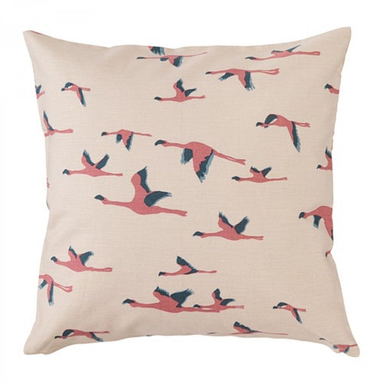 "IKEA MAJBRITT Pillow COVER Sham Cushion Cvr Pink Flamingo Birds in Flight  20""x20"" Beige MCM"