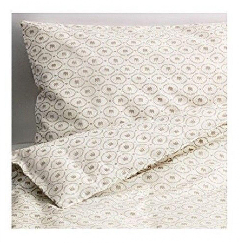 IKEA Hjartevan CRIB Duvet COVER Pillowcase SET Beige White Greige ELEPHANT Bedding HJ�RTEV�N