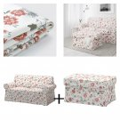 IKEA Ektorp 2 Seat Loveseat Sofa and Footstool COVERS Slipcovers VIDESLUND Multi FLORAL