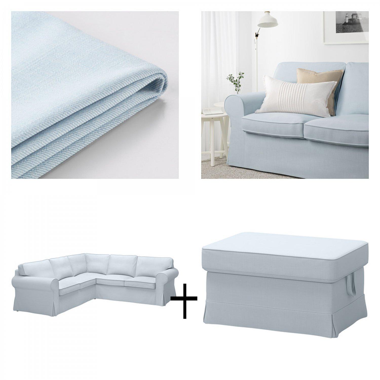 IKEA Ektorp 2+2 Corner Sofa and Footstool Slipcovers NORDVALLA LIGHT BLUE Sectional Ottoman Covers