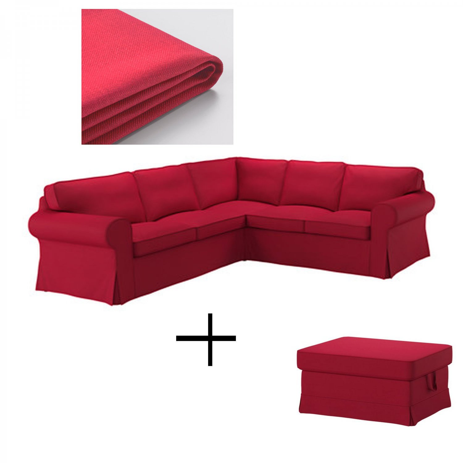 IKEA Ektorp 2+2 Corner Sofa and Footstool Slipcovers NORDVALLA RED 4 Seat Sectional Ottoman Covers