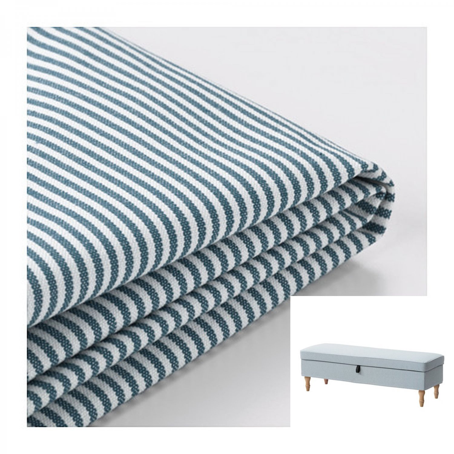 Ikea Stocksund Bench Slipcover Cover Remvallen Blue White