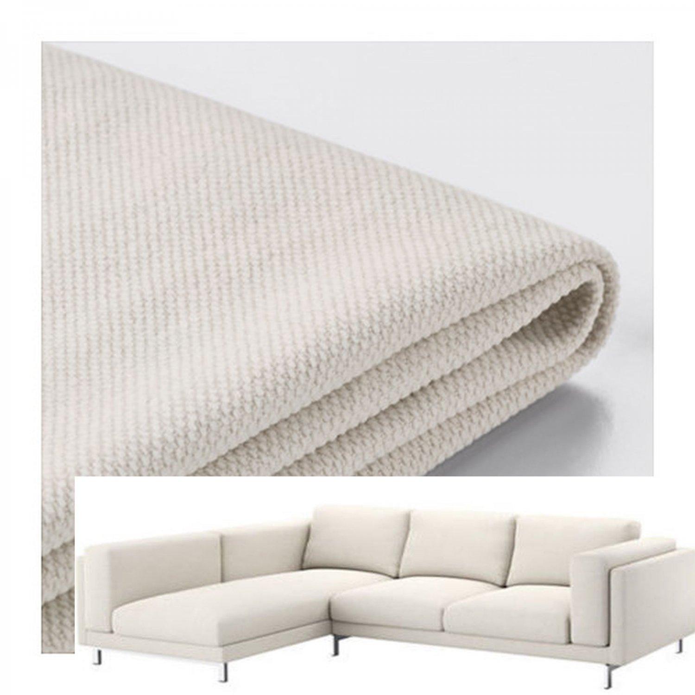 IKEA Nockeby SLIPCOVER Loveseat w Chaise Left COVER Tallmyra Light Beige