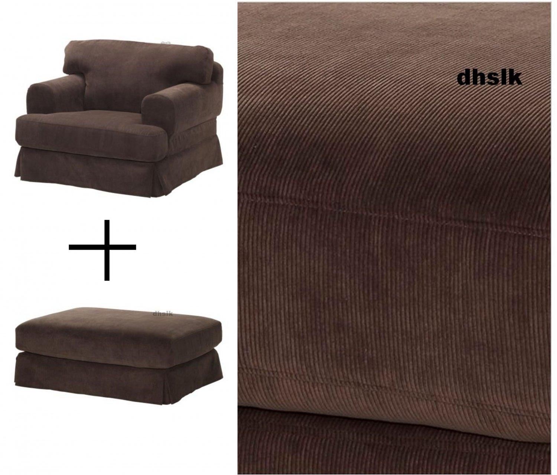 IKEA Hovas Armchair and Footstool SLIPCOVERS Covers GRADDO BROWN Gräddö Corduroy HOV�S