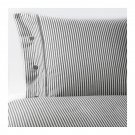 IKEA Nyponros QUEEN Full DUVET COVER Set TICKING STRIPES GRAY Yarn Dyed SOFT Grey