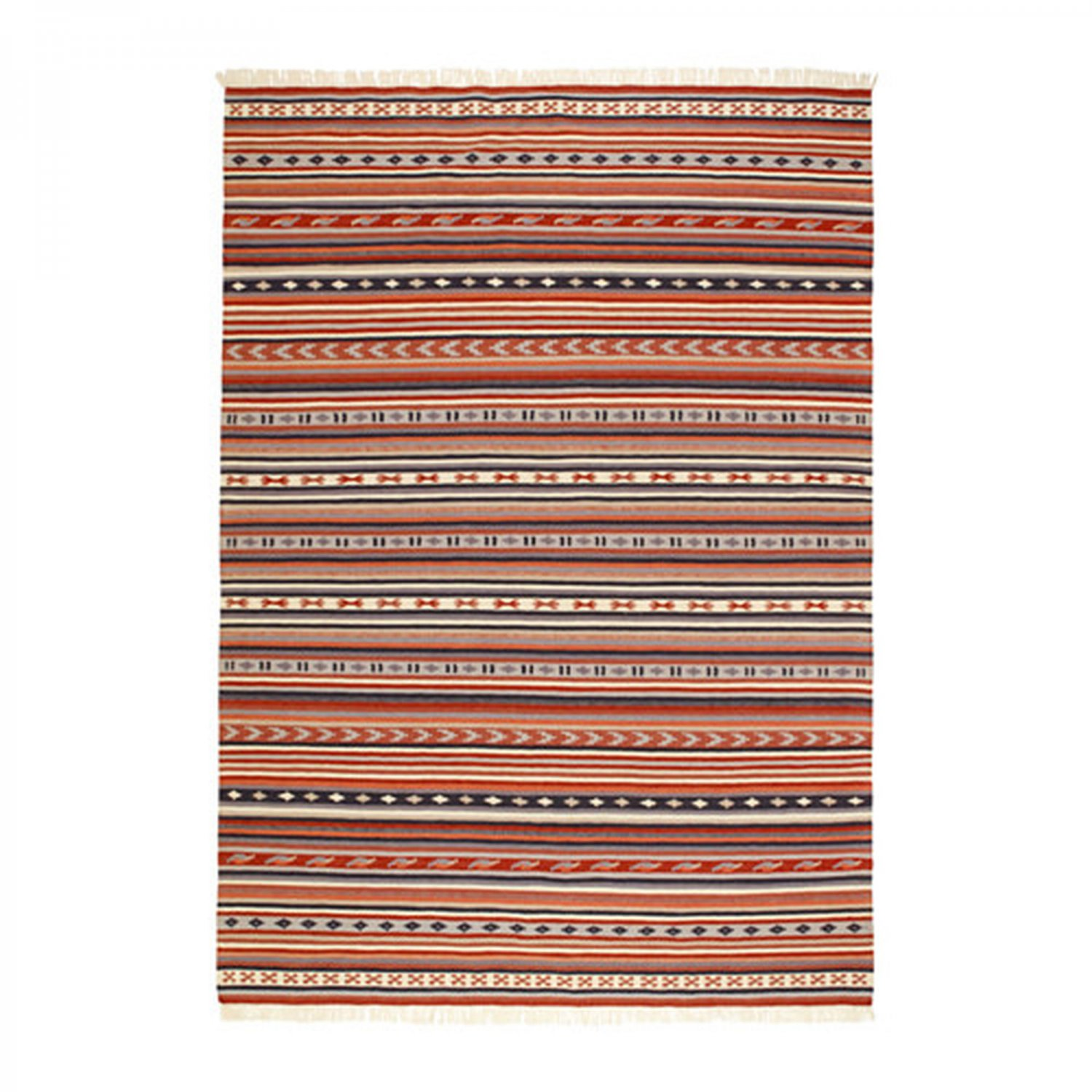 "IKEA Kattrup Area RUG Mat WOOL Multicolor Rust Hand-Woven Flatwoven INDIA Ethnic 7'10"" x 5'7"""