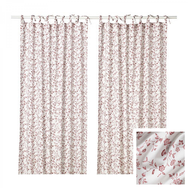 IKEA Hassleklocka Drapes CURTAINS Red White TIE TOP 2 Panels H�SSLEKLOCKA Romantic