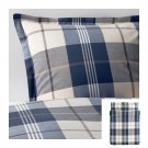 IKEA Kustruta Queen DUVET COVER Set Blue PLAID Yarn Dyed Soft Buffalo Check