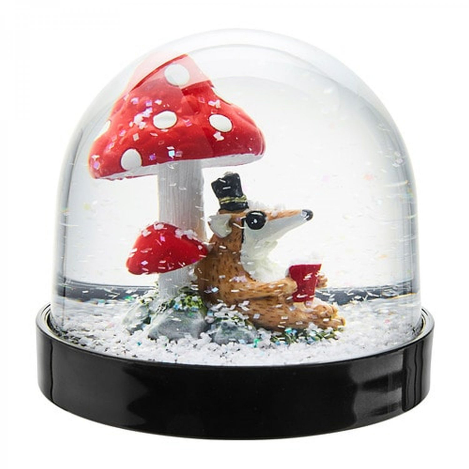 IKEA Vinter 2018 Snow Globe Snoglobe READING HEDGEHOG Badger Red MUSHROOM Xmas Decoration