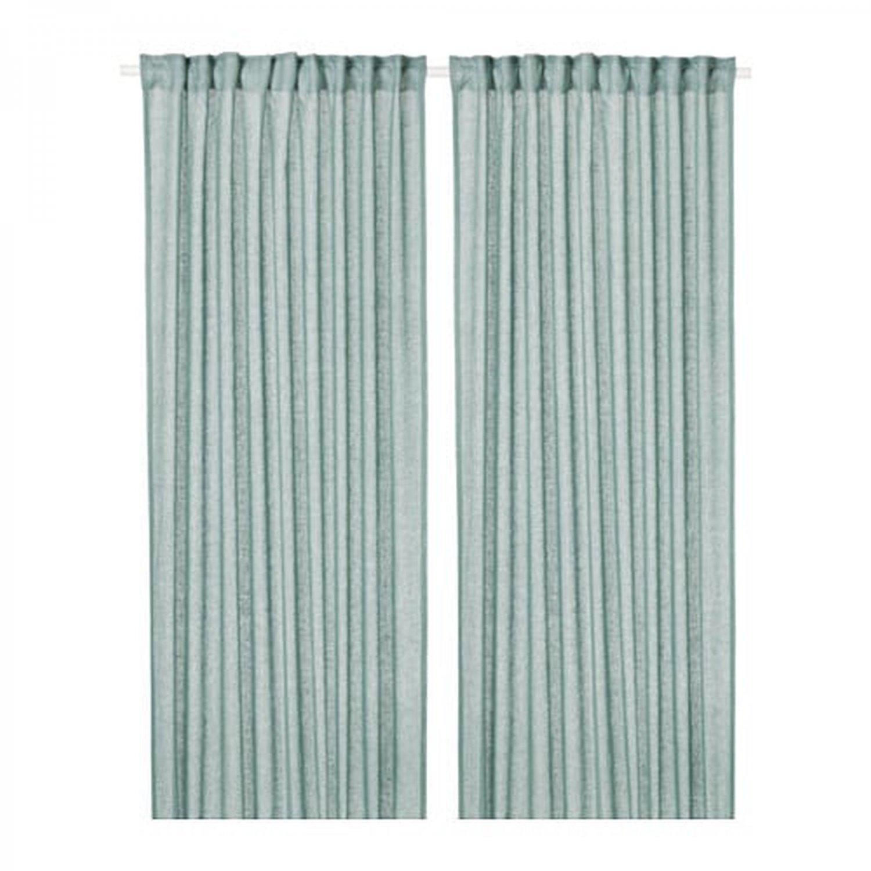 "IKEA Lejongap Curtains Drapes Green LINEN 98"" L blue-green 2 panels"