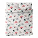 IKEA Tovsippa QUEEN Full DUVET COVER and Pillowcases Set Floral Gingko Fan Zen Japanese Oriental
