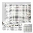 IKEA Nordruta King DUVET COVER and Pillowcases Set Blue PLAID Flannel Soft Tartan Check Green