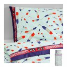 IKEA Glodande TWIN Duvet COVER Pillowcase Set Blue Red Feather 50s Retro GLÖDANDE Limited Edition