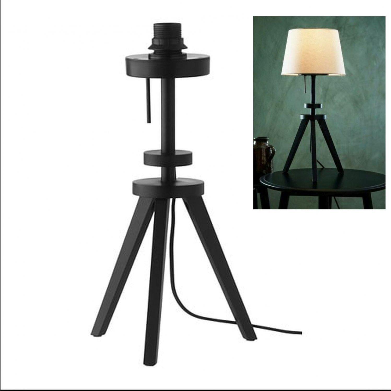 IKEA Lauters Table LAMP BASE Wood MODERN Brown Black Tripod