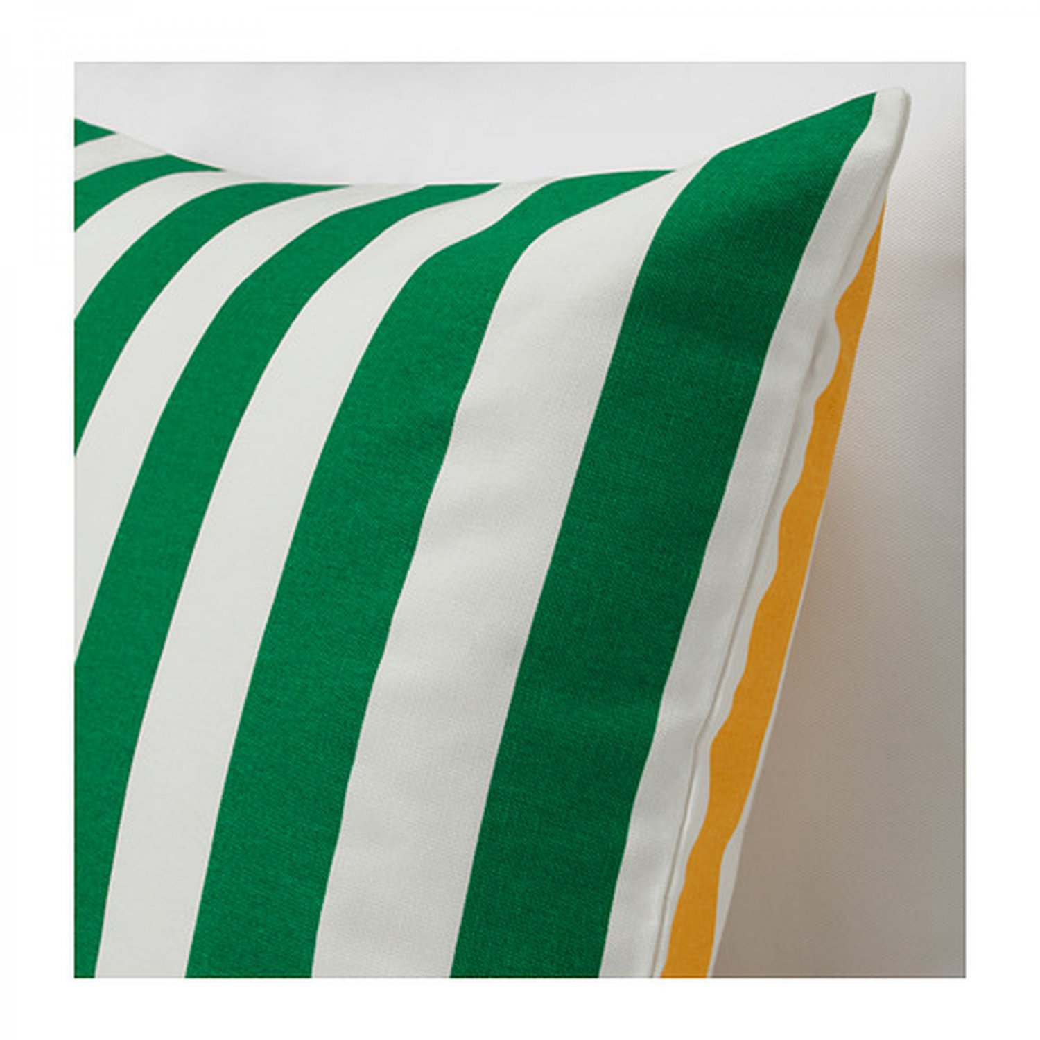 IKEA SOMMAR 2019 Pillow COVER Sham Cushion Cvr GREEN YELLOW Stripes Reversible