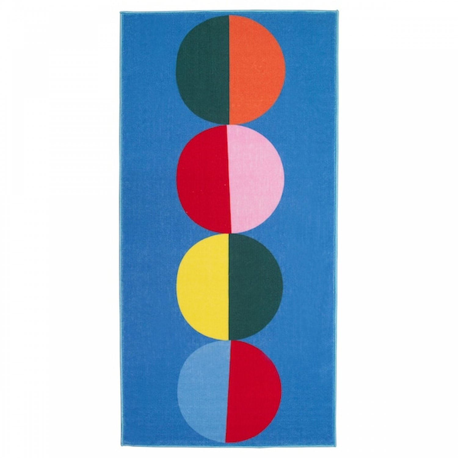 IKEA Sommar 2019 RUG Area Throw Mat LOW PILE Blue Bold Multicolor Dots Circles