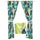 IKEA Urskog CURTAINS Drapes w Tie Backs Green Jungle Tropical Print 2 Panels