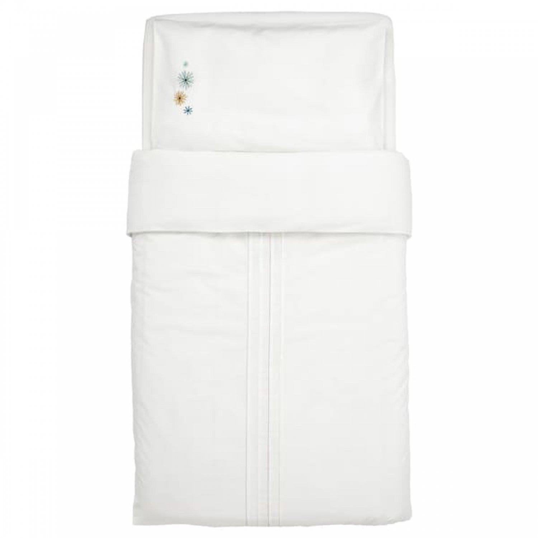 IKEA Tillgiven CRIB Duvet COVER Pillowcase SET White w Flower Starburst Nursery Bedding Embroidered