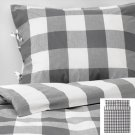 IKEA Emmie Ruta KING Duvet COVER Pillowcases Set DARK GRAY White Checks Plaid Grey