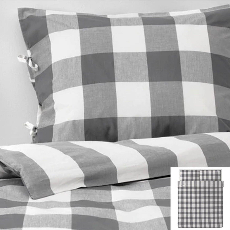 IKEA Emmie Ruta QUEEN Duvet COVER Pillowcases Set DARK GRAY White Buffalo CHECKED Grey