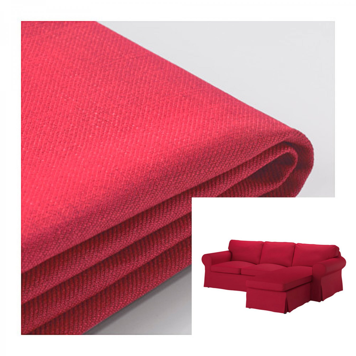 IKEA Ektorp Loveseat sofa w Chaise SLIPCOVER 3-seat sectional sofa COVER Nordvalla Red