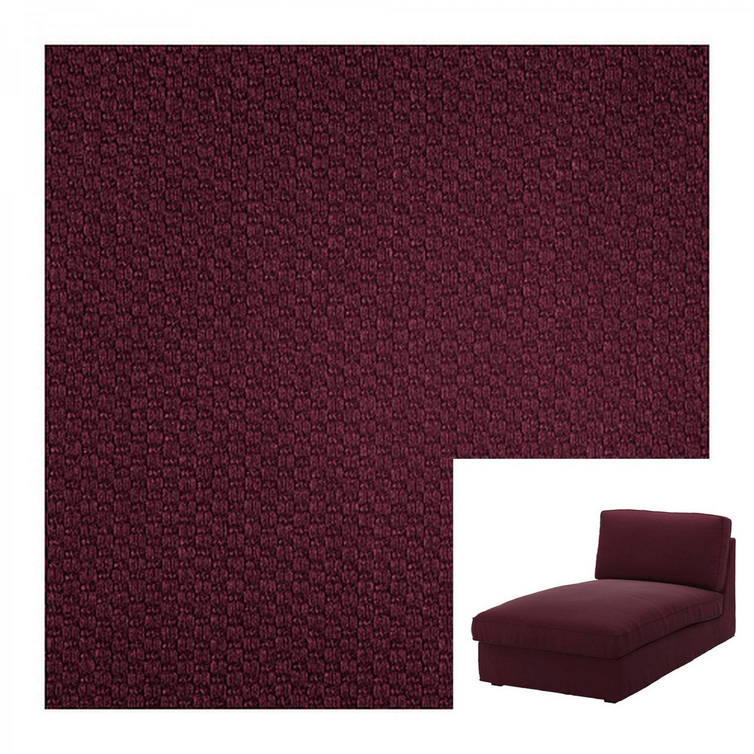 IKEA Kivik Chaise Longue SLIPCOVER Lounge Cover DANSBO Red-Lilac Red Lilac Purple Wine Burgundy