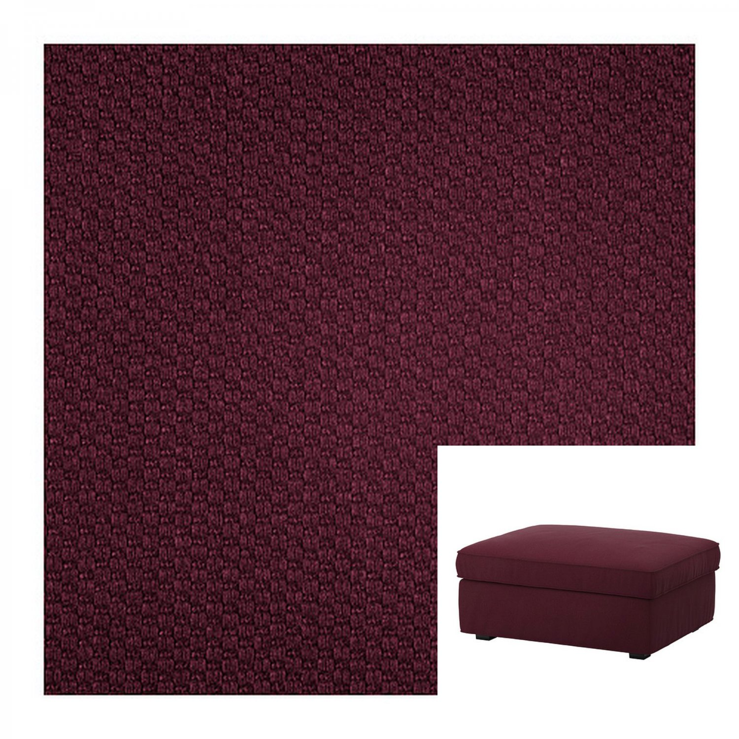 IKEA Kivik Footstool SLIPCOVER Ottoman Cover DANSBO Red-Lilac Red Lilac Purple Wine Burgundy