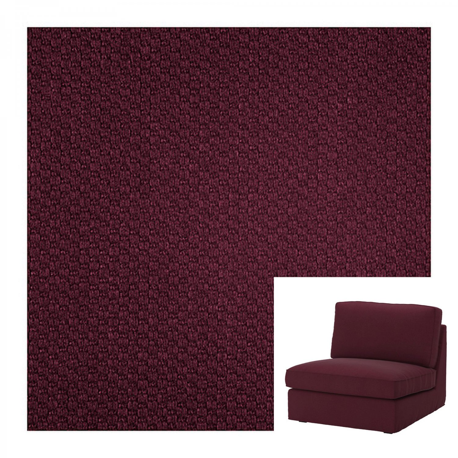 IKEA Kivik 1 One Seat Sofa SLIPCOVER One-seat Chair Cover DANSBO Red-Lilac Red Lilac Purple Wine