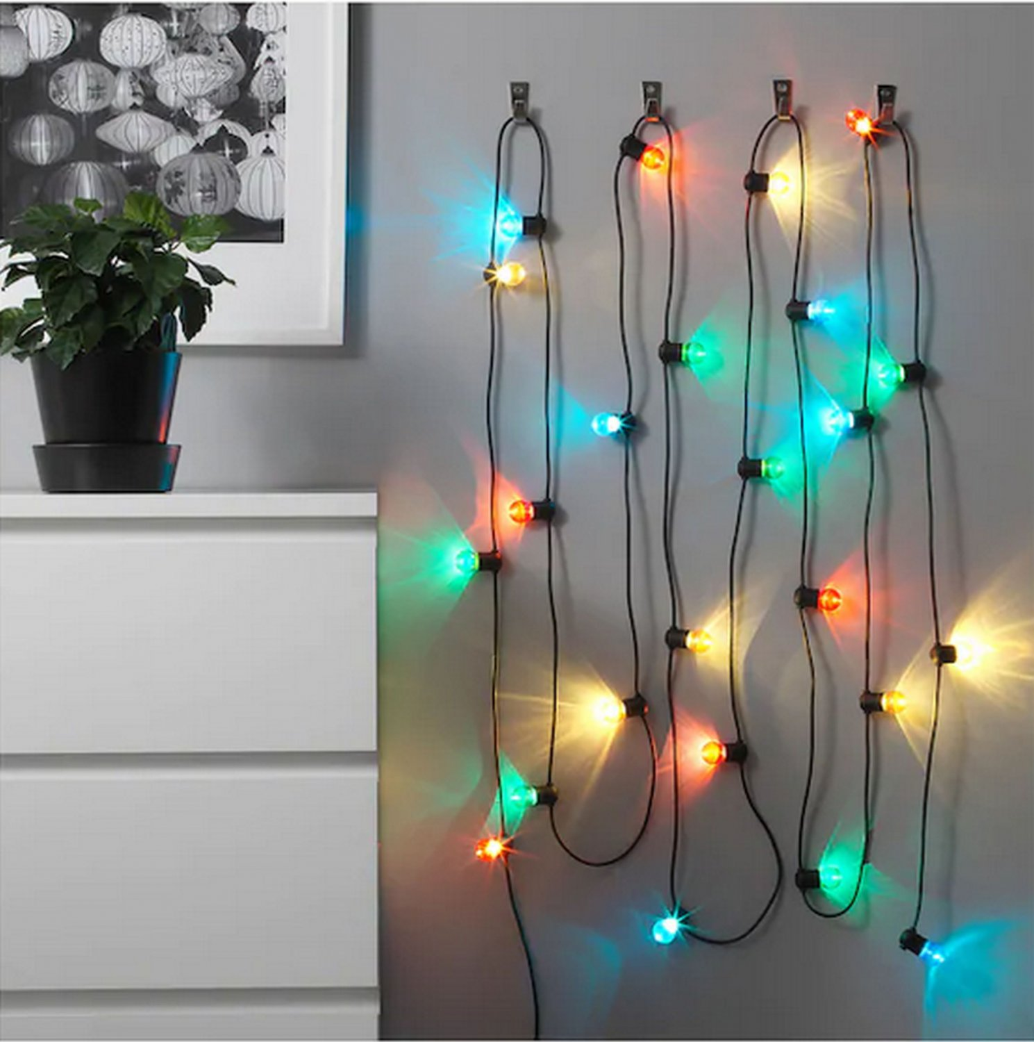 IKEA Solvinden 24 LIGHT CHAIN LED  INDOOR OUTDOOR Multicolor Holiday Fairy Lights Strala Glansa Xmas