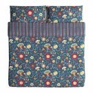 IKEA Rosenrips King Duvet Cover and Pillowcases Set BLUE Red Floral Vine Stripes