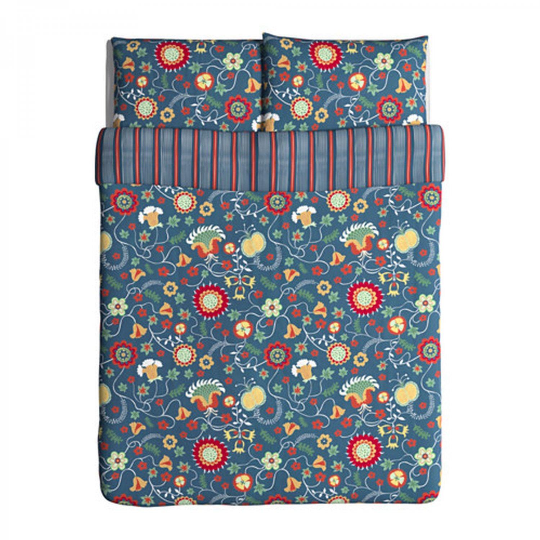 IKEA Rosenrips Queen Full Duvet Cover and Pillowcases Set BLUE Red Floral Vine Stripes Double