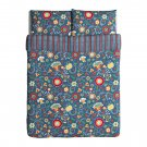 IKEA Rosenrips Queen Full Duvet Cover and Pillowcases Set BLUE Red Floral Vine Stripes Double