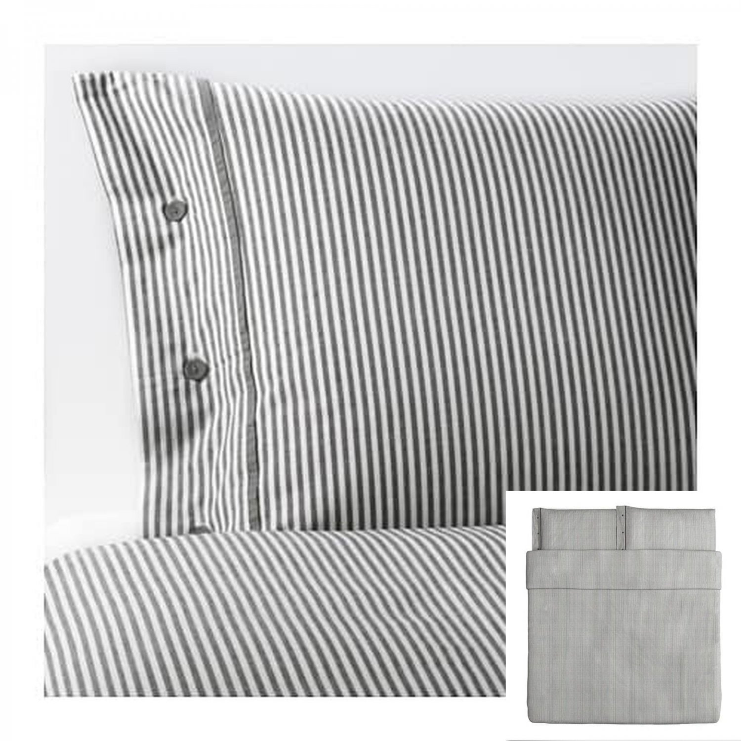 IKEA Nyponros KING Duvet COVER Set TICKING STRIPES GRAY Yarn Dyed SOFT Grey